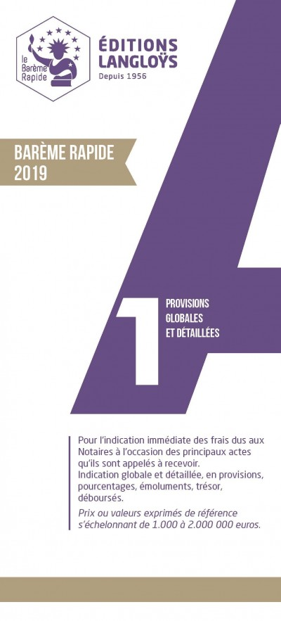 BAREME RAPIDE A1 - EDITION 2019